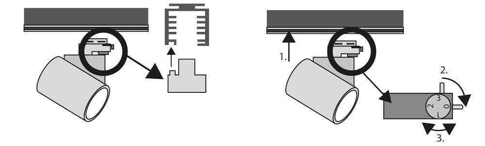 3-Phasen Schienensystem - Einsetzen der Strahler