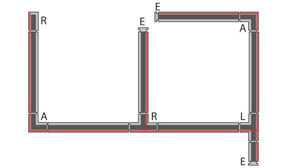 3-Phasen Schienensystem - einfache Beleuchtungssituation mit T-Verbindern