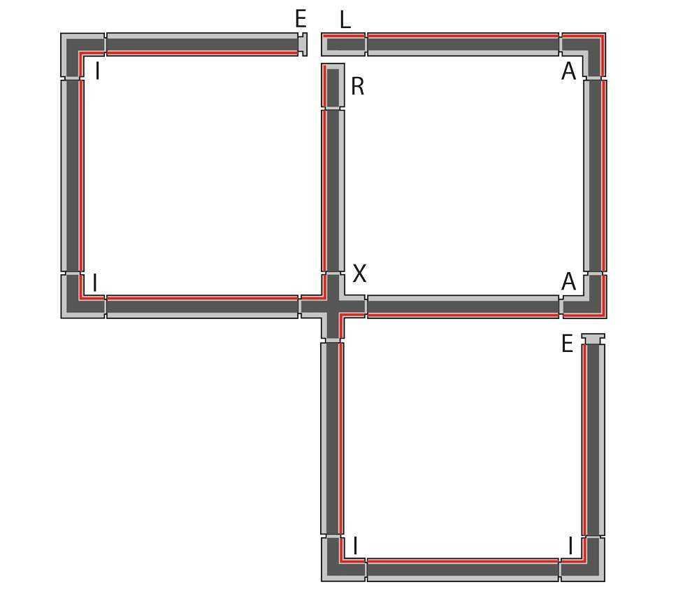 3-Phasen Schienensystem - Beleuchtungsinstallation mit zwei Einspeisern und einem X-Verbinder
