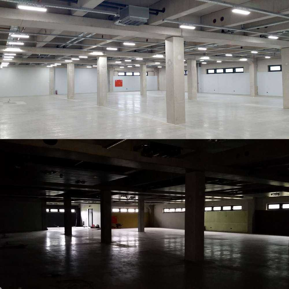 LED Hallenstrahler HPT - Hallenausleuchtung - Vorher Nachher