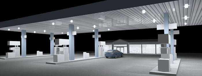 LED Lichtkonzept Tankstellenbeleuchtung