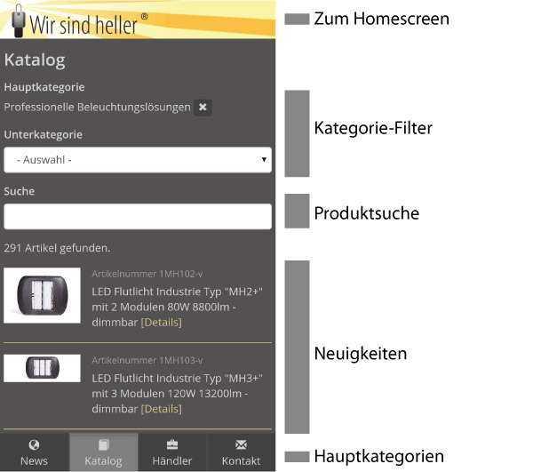 WSH App - Katalog