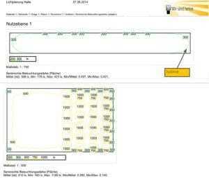 Lichtplanung: Nutzebene - Isolinien
