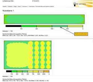 Lichtplanung: Nutzebene - Falschfarben