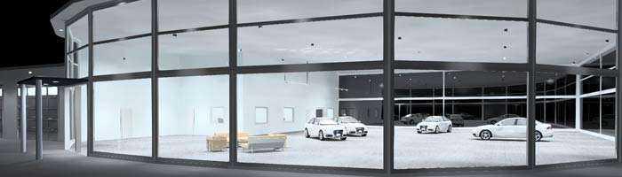 Konzept LED Autohausbeleuchtung