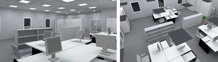 Lichtkonzept LED Bürobeleuchtung