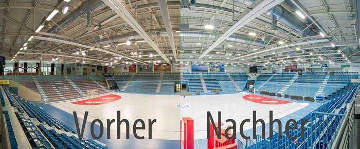 WSH Hallenbeleuchtung Schwalbe-Arena vorher nachher