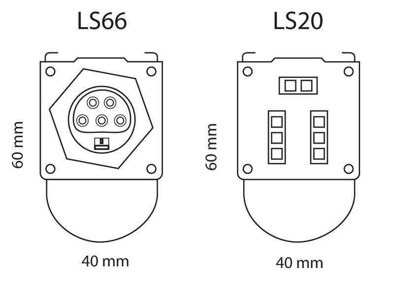 WSH Lichtbandsystem LS20 LS66 Anschluesse