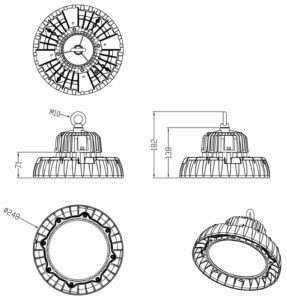 LED Hallenstrahler WH SL WH SL2 100W-Zeichnung