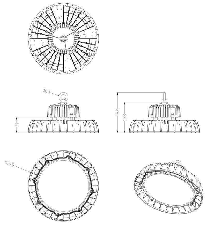 LED Hallenstrahler WH SL WH SL2 150W-Zeichnung