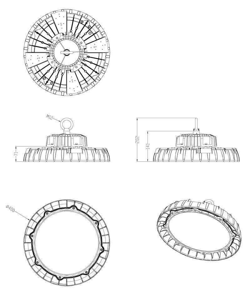LED Hallenstrahler WH SL WH SL2 200 240W-Zeichnung