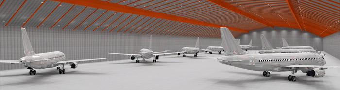 WSH Lichtkonzept Flugzeug Hangarbeleuchtung