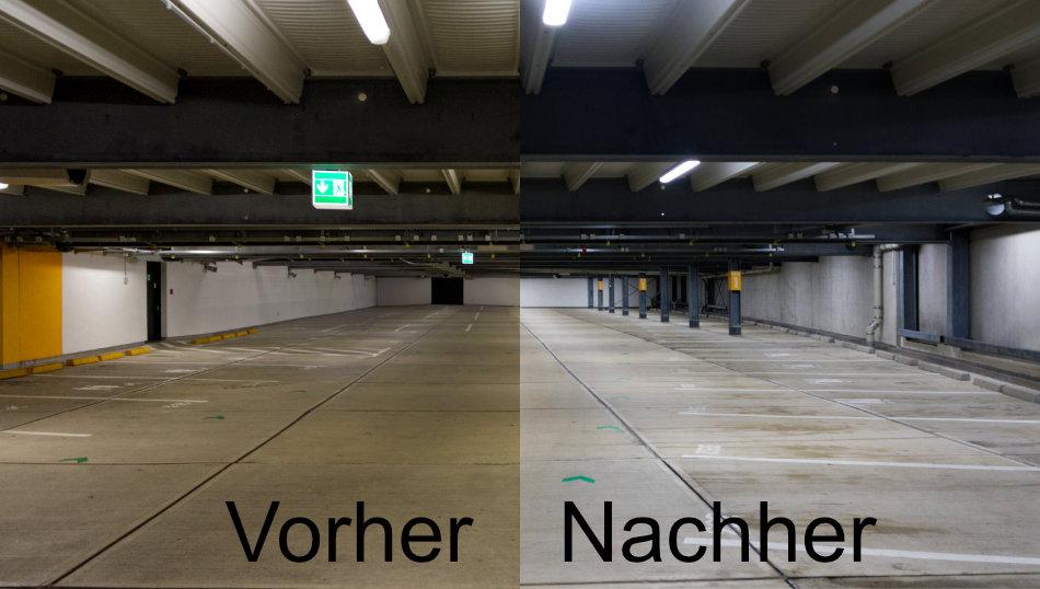Parkhaus neue Beleuchtung vorher nachher